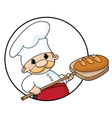 baker with bread circle vector image