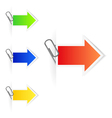 Advertising arrow-labels with paperclips vector image