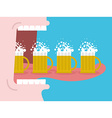 Alcoholism Drinking many beer Man drinks beer Wide vector image