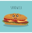 cartoon sandwich food fast facial expression vector image
