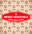 Vintage christmas card with red label vector image