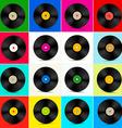 Vinyl Set Retro Colorful LP Disc Vinyl Record vector image