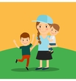 Young girl and two boys vector image