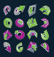 dimensional green and purple app buttons vector image vector image