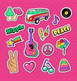 hippie fashion doodle stickers badges vector image