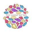 hand drawn colorful background with seashells and vector image