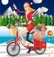 Santa girl riding a bicycle vector image vector image