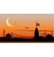 silhouette of Istanbul at sunset vector image vector image
