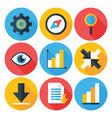 Business Flat Circle icons Set with Long Shadows vector image