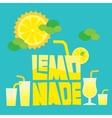 Glass of summer lemonade drink on blue background vector image