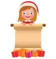 Little girl in Santa Claus hat with a scroll and b vector image vector image