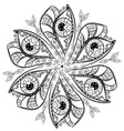 Ornament in the shape of a flower from black and vector image