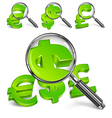 Dollar sign magnified green vector image