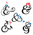 Ampersand sign with birds set vector image