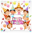 Birthday background with happy children vector image