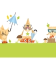 Cartoon Animals Hipster Style vector image