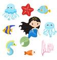 cute girl mermaid cute girl mermaid vector image