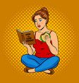 fat girl try to lose weight pop art vector image