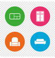 furniture icons sofa cupboard and book shelf vector image