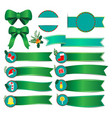 set of christmas banners with green ribbon vector image