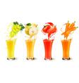 set of fruit juice splash in a glass grapes vector image