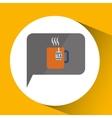 smartphone digital with tea cup hot design vector image
