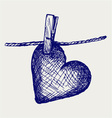 Heart in clothesline vector image