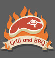 grill and barbecue cartoon logo vector image