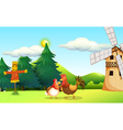 A hen and a rooster at the farm vector image vector image