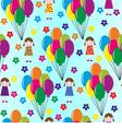 Girl and balloons vector image
