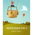 Aeronautics hot air balloon basket vector image