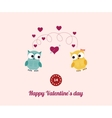 Lovers and happy owls with hearts vector image