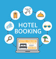 online hotel booking laptop with holiday icons vector image
