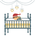 Baby sleeping in santa hat vector image