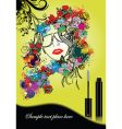 woman silhouette with mascara vector image vector image