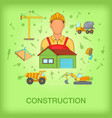 building process concept worker cartoon style vector image