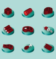 meat color isometric icons vector image