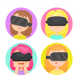 Four different girls in a virtual reality glasses vector image