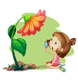 A girl holding a magnifying glass under a flower vector image