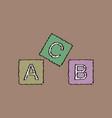 flat shading style icon toy blocks vector image