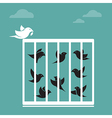 image of a bird in the cage and outside the cage vector image vector image