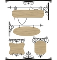 Wooden wrought iron vintage signs set vector image
