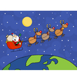 Santa Waving And Flying Over Earth vector image vector image
