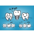 Teeth cool blue cartoons vector image vector image