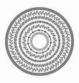 black silhouette inner circles border leaves set vector image