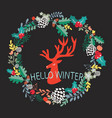 cute silhouette of deer head and wreath with vector image