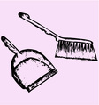 dustpan sweeping brush vector image