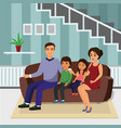 happy family in living room vector image