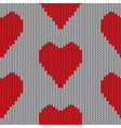 Knitted heart Valentine day holiday handmade seaml vector image