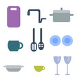 set of kitchen utensils food kitchenware cooking vector image